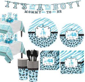 Baby Blue Safari Tableware Kit 18 Guests