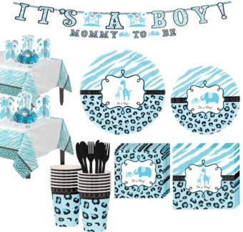 Baby Blue Safari Tableware Kit 18 Guests