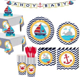 Ahoy Nautical Baby Shower Party Kit 16 guests