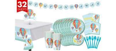 Up & Away Baby Shower Tableware Kit 32 guests