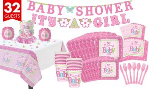 Welcome Baby Girl Tableware Kit 32 Guests