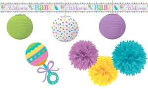 Pastel Rainbow Chevron Baby Shower Decorating Kit