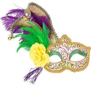 Glitter Jester Mardi Gras Masquerade Mask