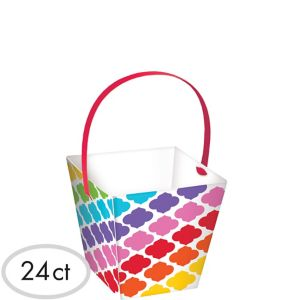 Bright Rainbow Moroccan Cubed Bowls with Handles 24ct