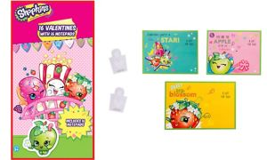 Shopkins Valentine Exchange Cards with Notepads 16ct