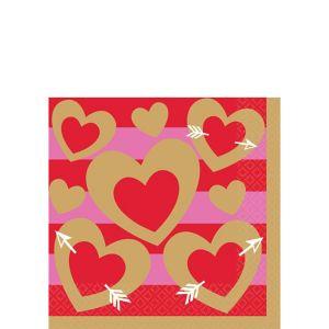 Heart of Gold Valentine's Day Beverage Napkins 16ct