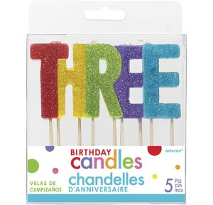 Glitter Multicolor Three Birthday Toothpick Candle Set 5pc