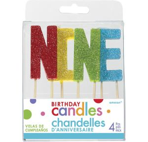 Glitter Multicolor Nine Birthday Toothpick Candle Set 4pc