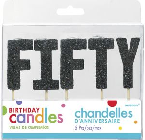 Glitter Black Fifty Birthday Toothpick Candle Set 5pc