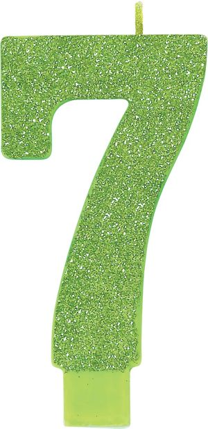Giant Glitter Kiwi Green Number 7 Birthday Candle