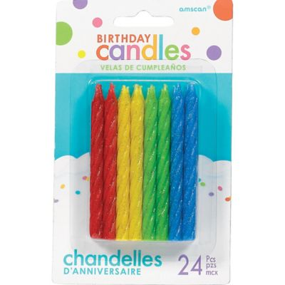 Glitter Multicolor Spiral Birthday Candles 24ct