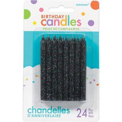 Glitter Black Birthday Candles 24ct