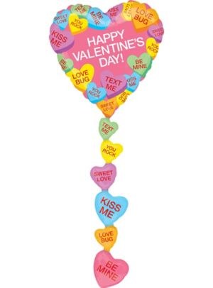 Giant Candy Heart Valentine's Day Balloon with Tail