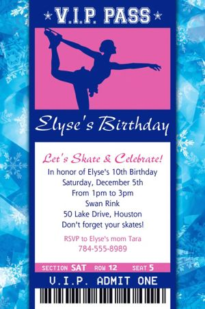 Custom Ice Skating Ticket Invitation