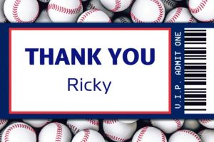 Custom Baseball Ticket Thank You Note