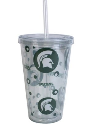 Michigan State Spartans Double Wall Tumbler with Straw