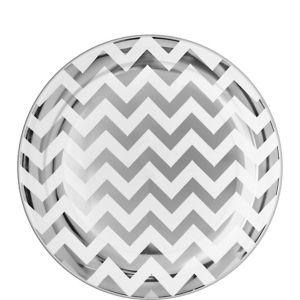 Silver Chevron Premium Plastic Lunch Plates 20ct