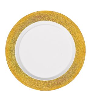 White Prismatic Gold Border Premium Plastic Lunch Plates 20ct