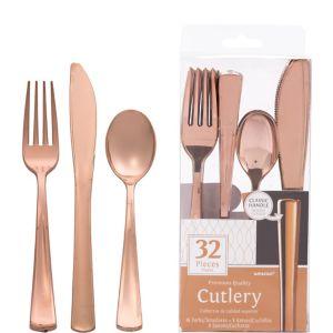 Rose Gold Premium Plastic Cutlery Set 32ct