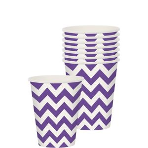 Purple Chevron Paper Cups 8ct