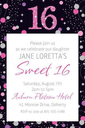 Custom Pink Sparkling Celebration 16 Invitation