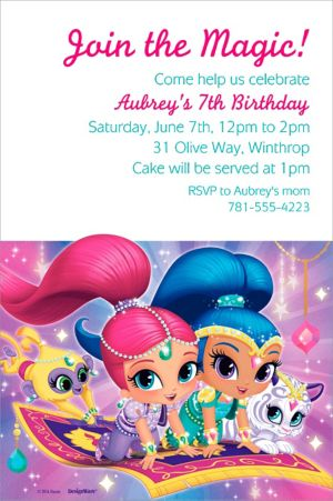 Custom Shimmer and Shine Invitation