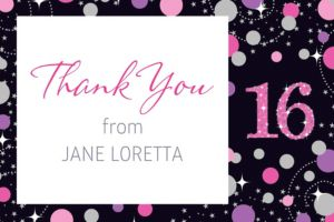 Custom Pink Sparkling Celebration 16 Thank You Note