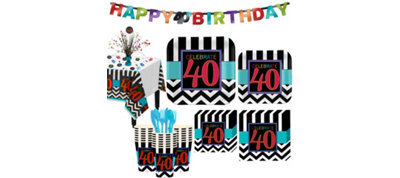 Celebrate 40th Birthday Party Kit for 32 Guests