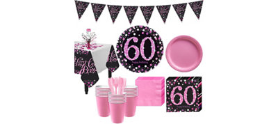 Pink Sparkling Celebration 60th Birthday Party Kit for 32 Guests
