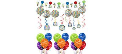 Rainbow Dot & Chevron Birthday Decorating Kit with Balloons