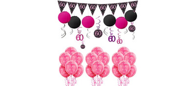 Pink Sparkling Celebration 60th Decorating Kit with Balloons