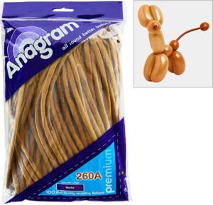 Long Brown Twisting Balloons 100ct