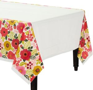 Coral Floral Table Cover