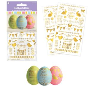 Metallic Gold Easter Egg Tattoos 2 Sheets