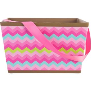 Pink Chevron Square Easter Basket