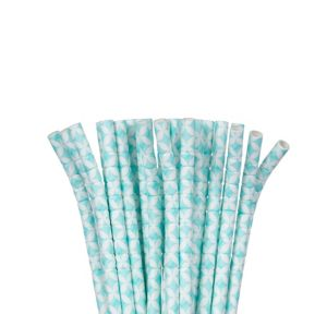 Robin's Egg Blue Diamond Flexible Paper Straws 24ct