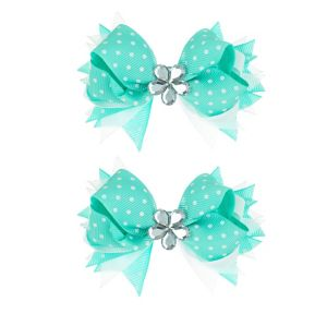 Teal Polka Dot Hair Bow