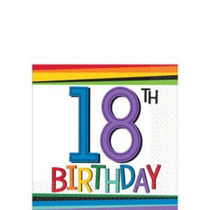 Rainbow 18th Birthday Beverage Napkins 16ct