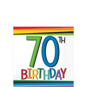 Rainbow 70th Birthday Beverage Napkins 16ct