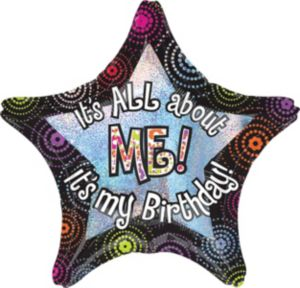 Giant Prismatic All About Me Birthday Star Balloon
