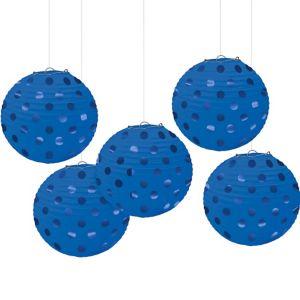 Mini Royal Blue Polka Dot Paper Lanterns 5ct