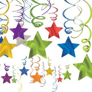 Multicolor Jewel Tone Star Swirl Decorations 30ct