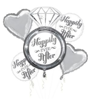Happily Ever After Wedding Balloon Bouquet 5pc