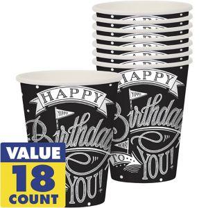 Chalkboard Dots Birthday Cups 18ct