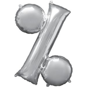 Giant Air-Filled Silver Percent Symbol Balloon