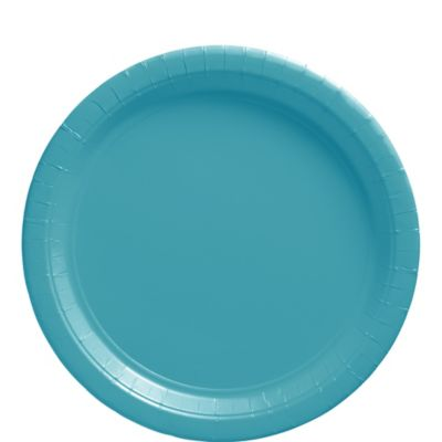 Caribbean Blue Paper Lunch Plates 20ct