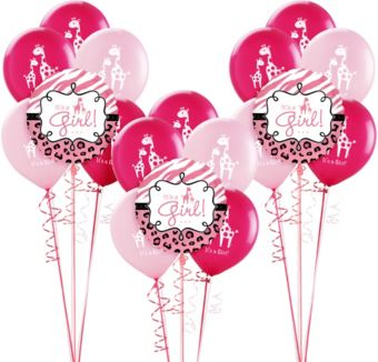 Pink Safari Girl Baby Shower Balloon Kit 18ct
