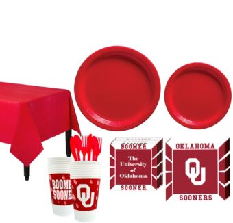 Oklahoma Sooners Basic Party Kit for 16 Guests