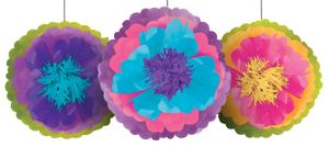Multicolor Flower Fluffy Decorations 3ct