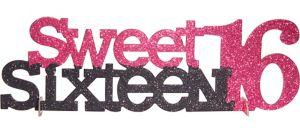 Sweet Sixteen Glitter Centerpiece